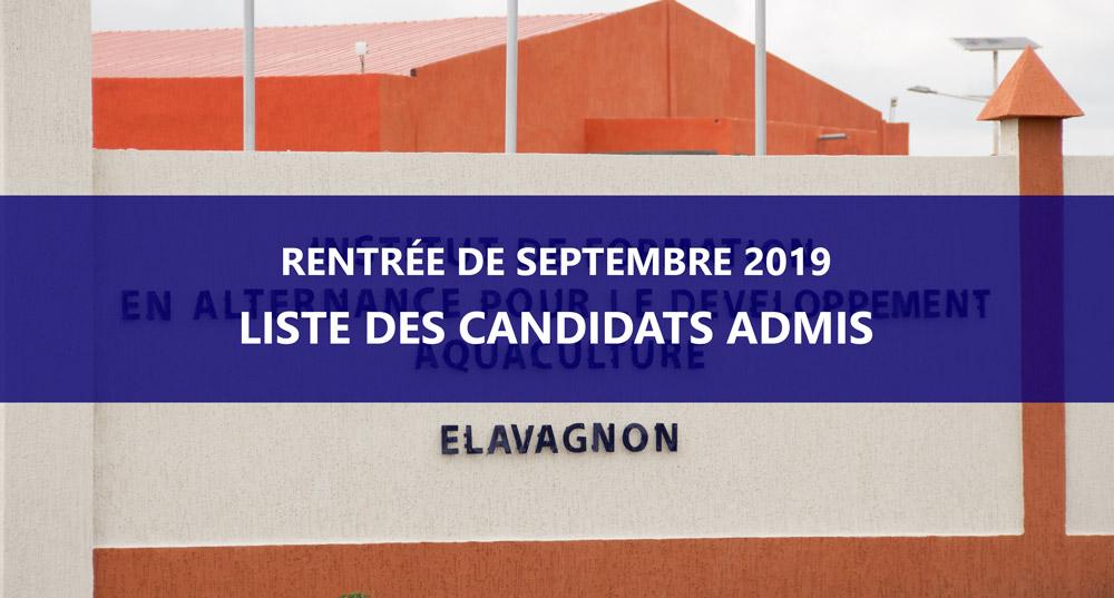 Liste des candidats admis par ordre alphabétique – recrutement IFAD rentrée de Septembre 2019