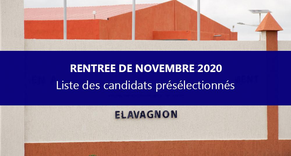 Liste des candidats présélectionnés par ordre alphabétique – recrutement pour la rentrée de l'IFAD-Aquaculture de Novembre 2020