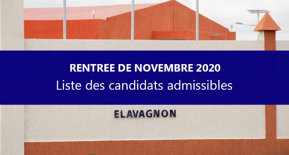 Liste des candidats admissibles par ordre alphabétique – recrutement pour la rentrée de l'IFAD-Aquaculture de Novembre 2020
